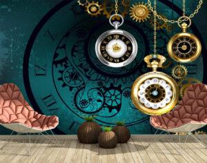 Antique, Pocket watch, Gold, Wallmural