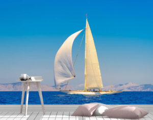 Calm Wooden Sailing Boat Wall Mural