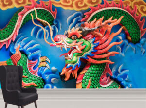 Scary Chinese Dragon Wall Mural