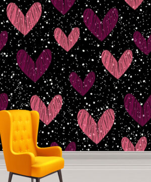 Cute and Fine Pink Hearts Wall Mural