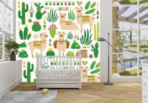 Cute Llamas and Cacti Wall Mural