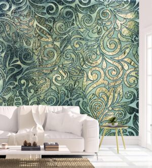Fine Geometrical Floral Design Wall Mural