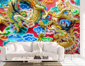Furious Dragons Fighting Wall Mural