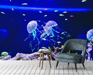 Glowing Olive Green Fishes Wall Mural