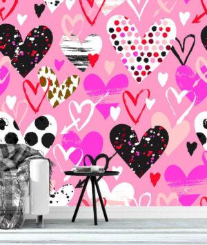 Hand Drawn Colorful Hearts Wall Mural
