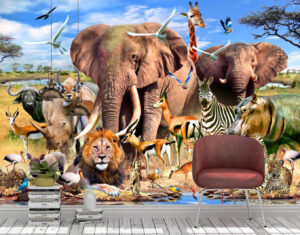 African plains, Wall mural, large animals