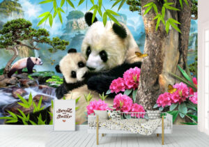 Morning Panda, forest, Nature and landscape, Wall mural