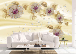 Silky Jewelry Flowers Wall Mural