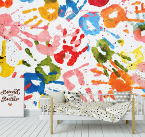 Kids Fun Hand Color Print Wall Mural