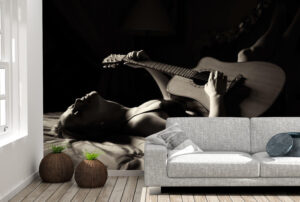 Lazy Woman Playing Guitar Wall Mural