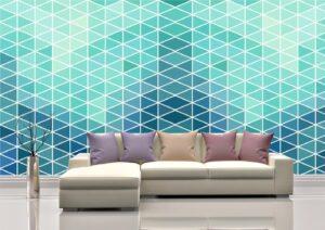 Light Blue Rhombus Patterns Wall Mural