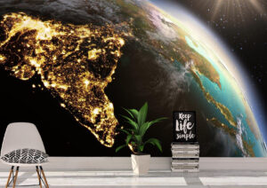 Planet Earth Glowing Asia Zone Wall Mural