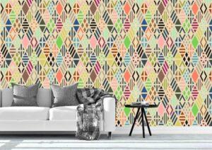 Rhombus Colorful Pattern Wall Mural