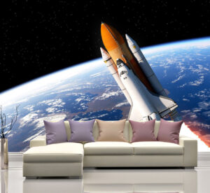 Space Shuttle Around Earth Wall Mural