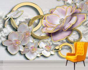 Cute Stereoscopic Flowers Wall Mural