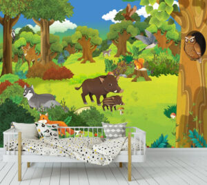 Sweet Animal Family in Jungle Wall Mural