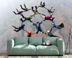 Thrilling Skydiving Adventure Wall Mural