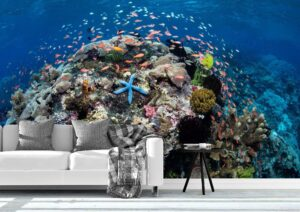 Vibrant Coral Reef Wall Mural