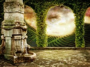 Beautiful Fairy Tale Background with Mystic Landscape