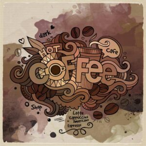 Hot Coffee Glowing Watercolor Wall Mural