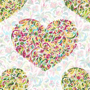 Colorful Ornate Floral HeartsWall Mural
