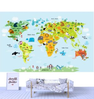 Funny Animal Map Wall Mural