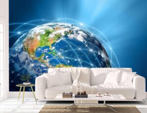 Glowing Internet over Globe Wall Mural