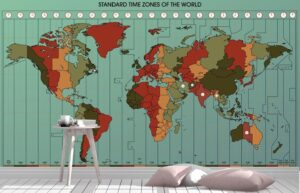 Nice World Map With Standard Time Zones Wall Mural
