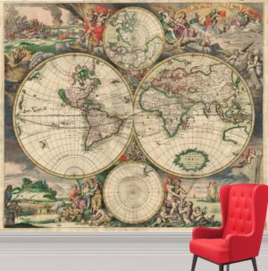 World Map of 1680 Wall Mural