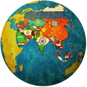 Bright Flags on Globe Map Wall Mural