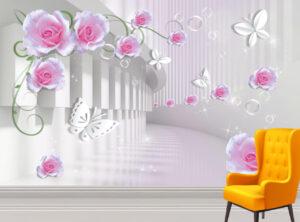 Cute Pink Roses & Paper ButterfliesWall Mural