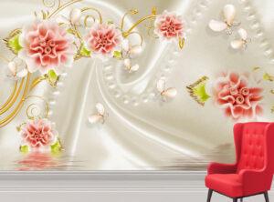 Red Jade Flower Wall Mural