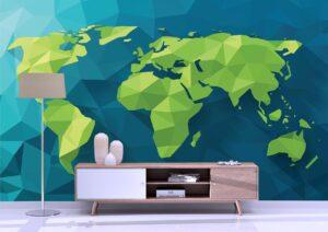Vector Polygonal World Map Wall Mural