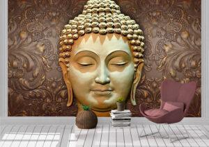 3D Golden Buddha Meditating Wall Mural