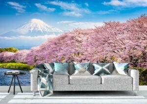 Mt. Fuji Love Cherry Blossom Wall Mural