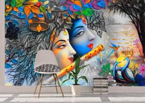 Beautiful Radha Krishna Painting Wall Mural
