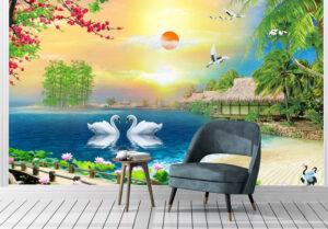 Romantic Serene Lake View Wall Mural