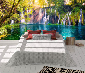 Last sunlight lights up the pure water waterfall Wall mural