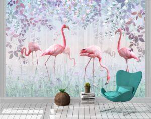 Pink Flamingos In A Delicate Garden