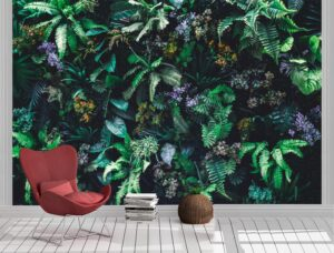 vertical garden with tropical green leaf