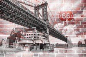 Brooklyn bridge and classic car