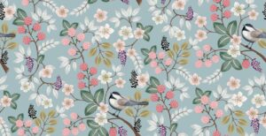 Floral pattern with cute birds