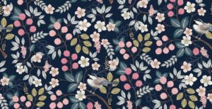 Floral pattern with cute birds dark background